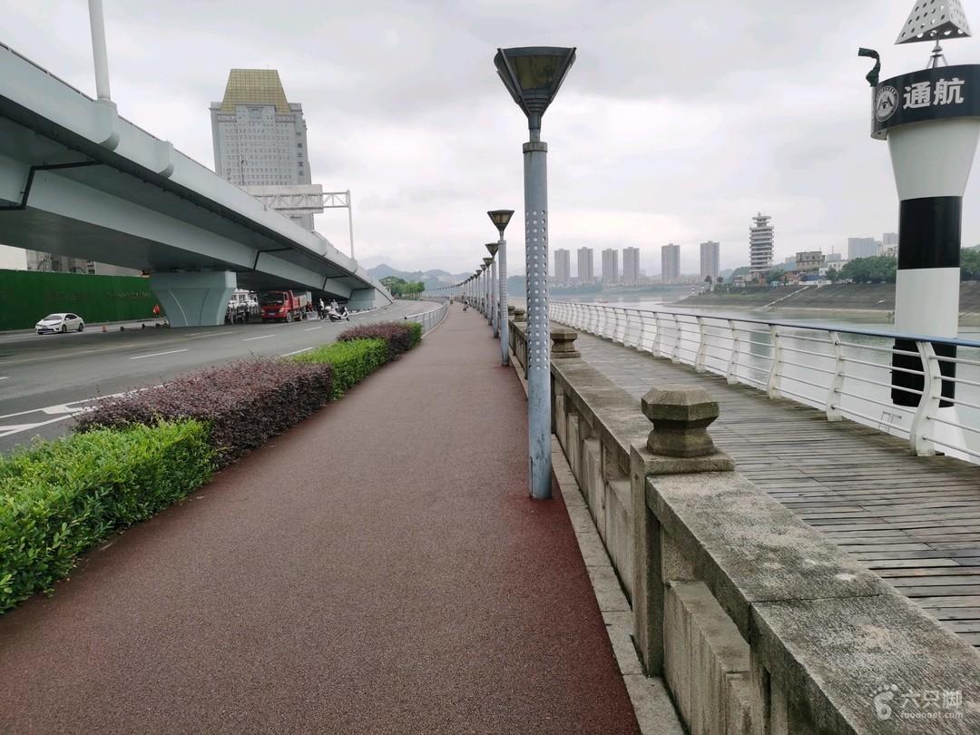 沿江大道(江边)编号1 绿化带1 非机动车道3.5(彩色沥青) 人行道3.2